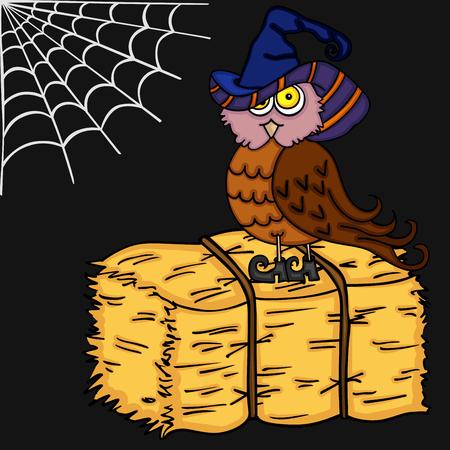 Halloween illustration with owl Illustration