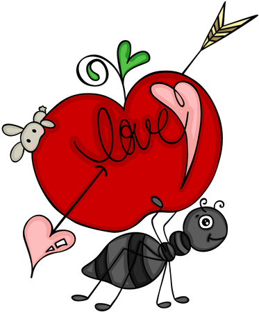 Ant carrying love red apple of cupid