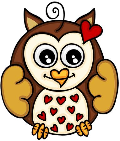 Cute little owl in love
