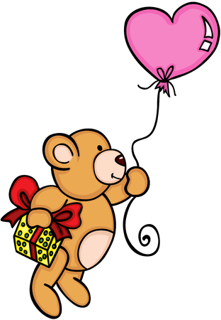 Teddy bear floating with balloon and gift