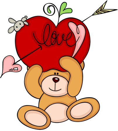 Teddy bear holding a red fruit with arrow. Illustration