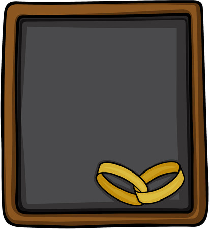 Chalkboard with gold wedding rings. Vetores