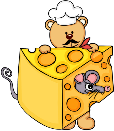Cook chef teddy bear holding slice of cheese with mouse.