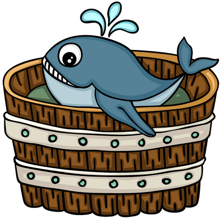 Cute whale in wooden tub, vector illustration.