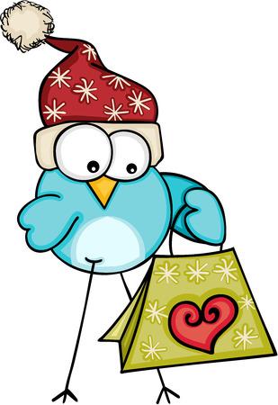 Christmas blue bird with gift bag.