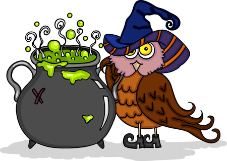 Halloween cute owl with witch caldron.