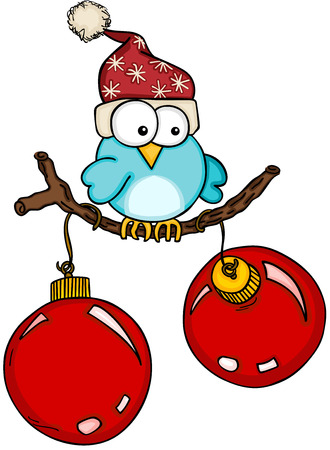 Christmas blue bird with red balls on branch