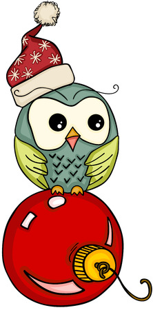 Christmas owl on red ball Illustration