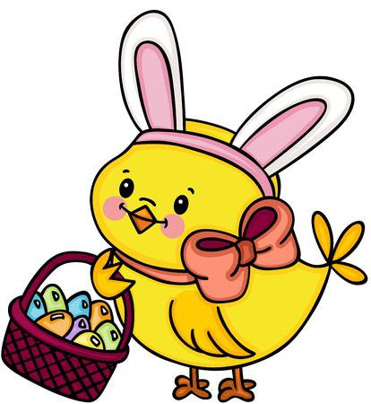 Chick with bunny ears holding basket with easter eggs