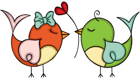 Couple love cute bird