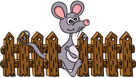 Cute mouse with wooden fence