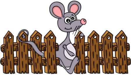 Nette Maus mit Bretterzaun Standard-Bild - 90321732