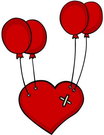 Red heart floating with red balloons