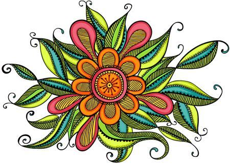 Colorful zentangle flower Vetores