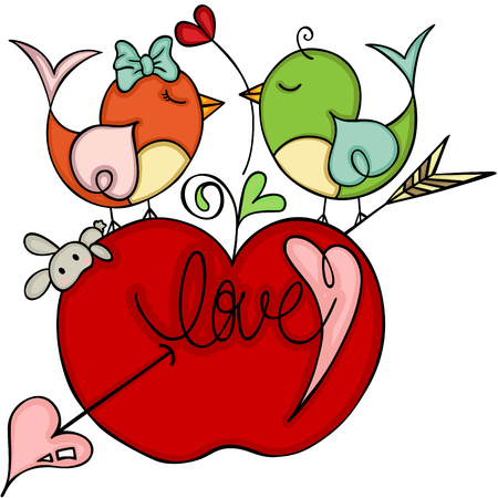 Loving birds on top of red apple cupid. Illustration
