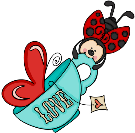 Ladybird flying with tea cup.