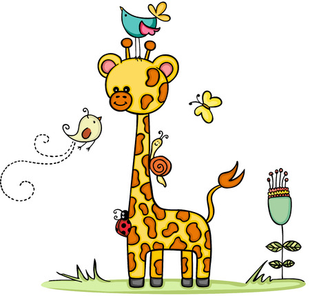 Giraffe in garden with animal friends Vector illustration. 矢量图像
