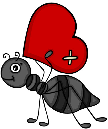 Ant carrying red heart Ilustrace
