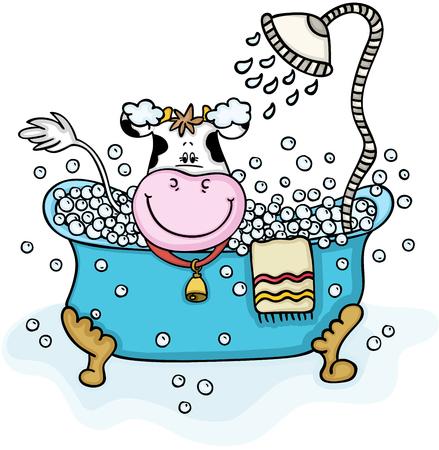 Cute cow taking a bubble bath