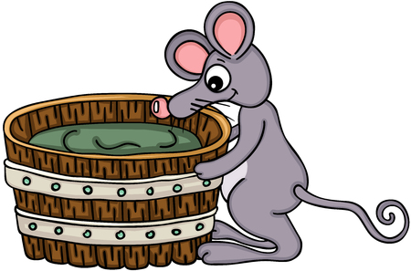 Cute mouse with wooden tub Stock Illustratie