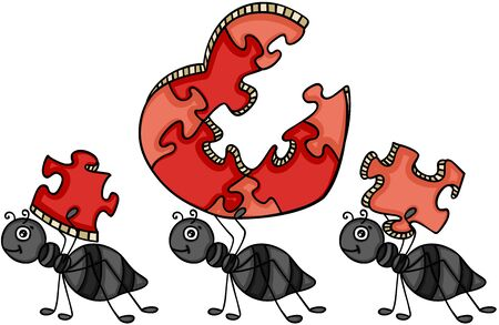 Ants carrying a heart shaped puzzle in cartoon illustration.