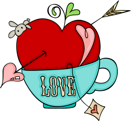 Love red apple of cupid on a cup of tea