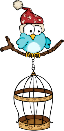 Christmas blue bird with golden bird cage Illustration