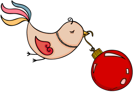 Cute bird flying with red Christmas ball illustration. Ilustrace