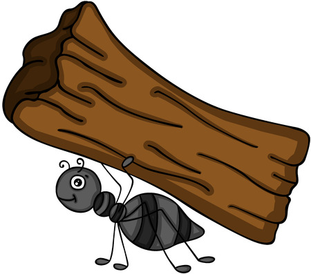 Ant carrying a tree trunk