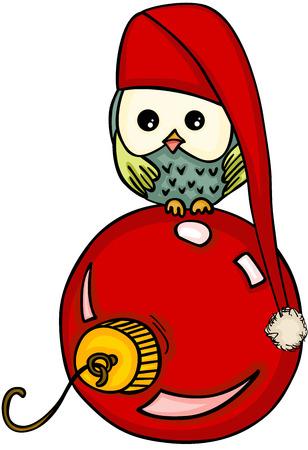 Christmas owl with red glass ball.