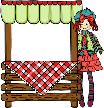 Girl with wooden stand