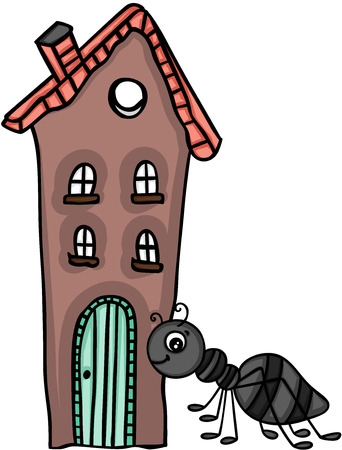 Ant and little house illustration on white background. Vettoriali