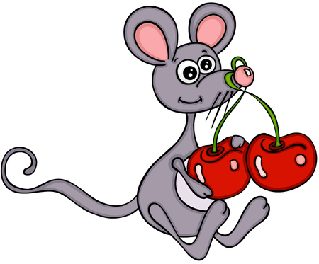 Cute mouse with cherries illustration on white background.