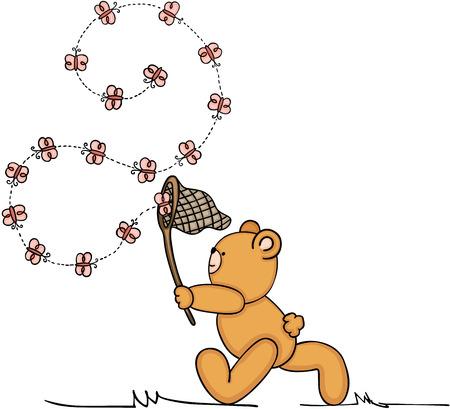 Teddy bear chasing butterflies.