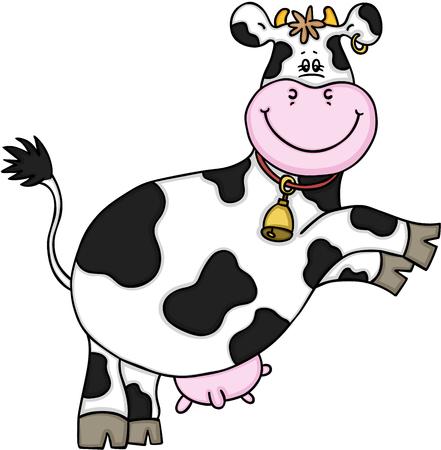 Cute cow jumping