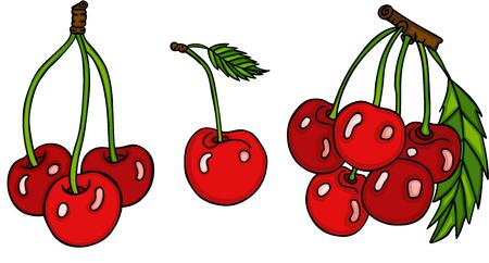 Set of three cute red cherries