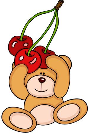 Teddy bear holding a bunch cherries Illustration