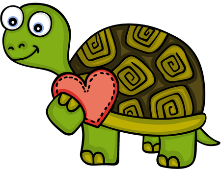 Cute turtle with red heart Illustration
