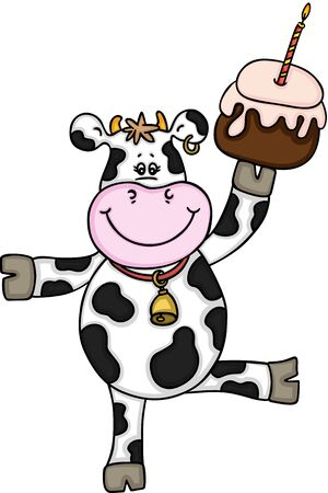 Funny cow with birthday cake cute design