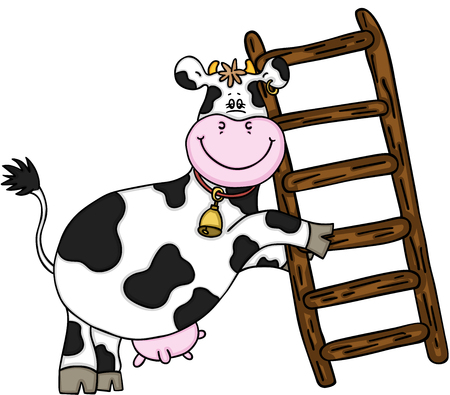 Happy cow with wooden ladder.