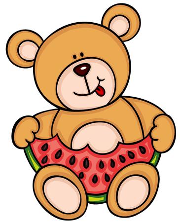Teddy bear eating watermelon Ilustrace