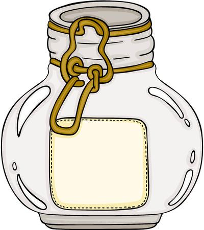 Round glass jar icon illustration.