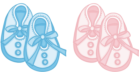 Blue and pink baby shoes