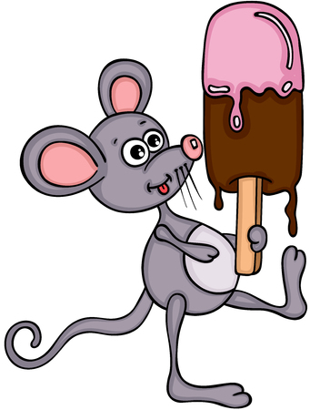 Little mouse eating ice cream
