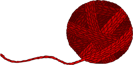 Red wool ball for yarn Illustration