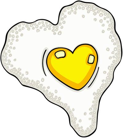 Heart shaped fried egg Vector illustration. Illustration
