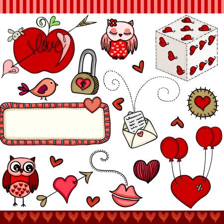 Love set digital elements with red hearts, owls, envelope. Vector illustration.