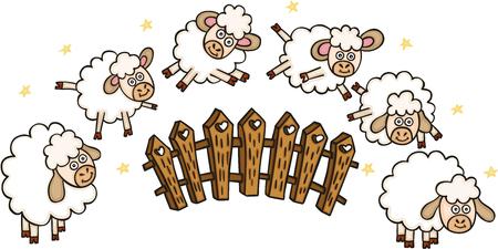Set of sheeps with a fence Ilustração