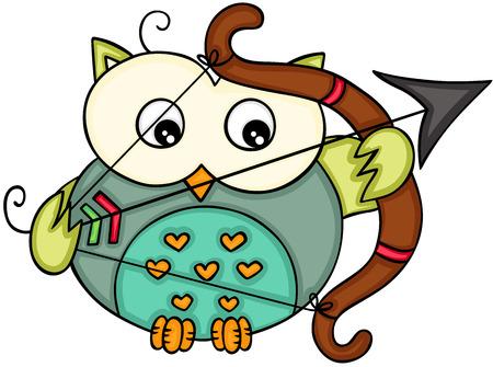 Cupid love owl Иллюстрация