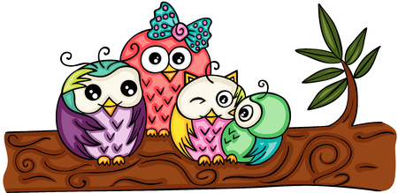 Cute owl family on a branch.